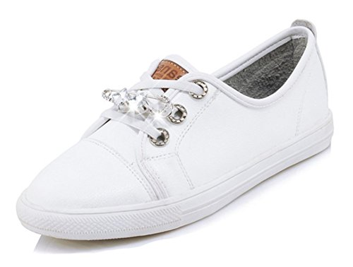Aisun Womens Lace Up Sneakers - Round Toe Flat Skate Shoes - Casual Rhinestone Low Top White wwdznIHni