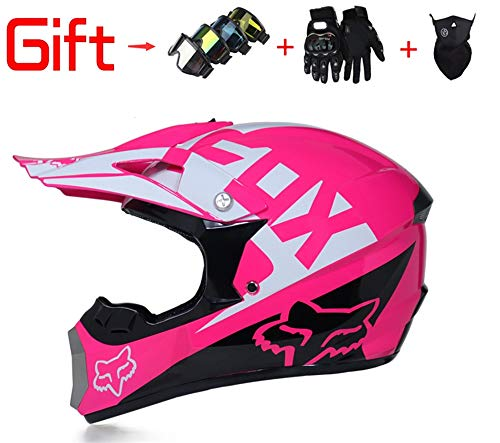 (HUE-GG Adult Men and Women Off-Road Vehicle Helmets Downhill DH Racing Motorcycles AM Bicycle Full Face Helmets Mx Helmets (Send Masks, Goggles, Gloves) DOT Certification,Pink,M )