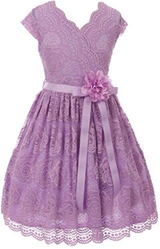Big Girls' Cap Sleeve Lace Floral Overlay Sash Flowers Flower Girl Dress Lilac 12 (J20KS66)