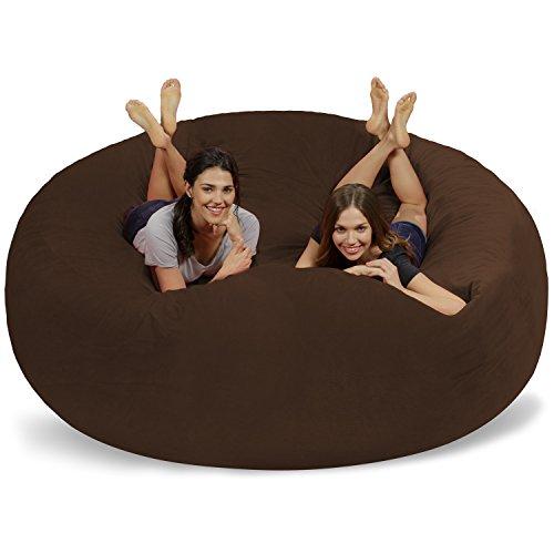 Chill Sack Bean Bag Chair: Giant 8' Memory Foam Furniture Bean Bag - Big Sofa with Soft Micro Fiber Cover - Brown Pebble