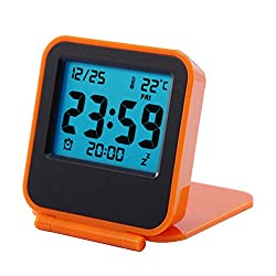 KOET Temperature ABS Ultra Slim Alarm Clock Portable Digital Display Clamshell Type(Orange)