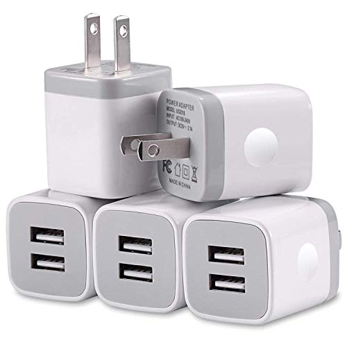 (USB Wall Charger Block, WITPRO 5-Pack 2.1A/5V Dual USB Port Power Adapter Charging Cube Compatible with iPhone Xs/XR/X 8/7/6 Plus SE/5S/4S, iPad, Samsung, Android Phone, More (White))