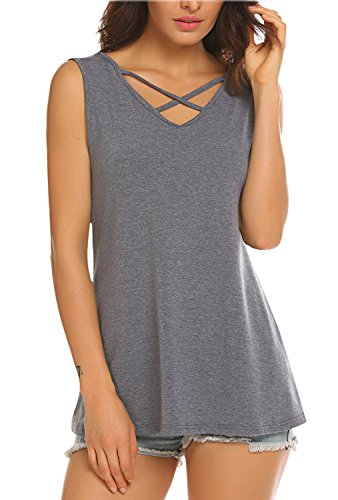 Grey Tunic Top (BLUETIME Women's Summer Sleeveless Pleated Cami Tank Top Yoga Sport Vest Shirt Grey L)