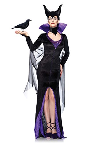 Leg Avenue Women's Disney 3Pc. Maleficent Costume Dress and Head Piece, Black, Medium
