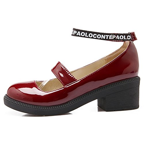 COOLCEPT Damen Mode-Event Geschlossene Round Toe Pumps Knochelriemchen Mary Janes Rot