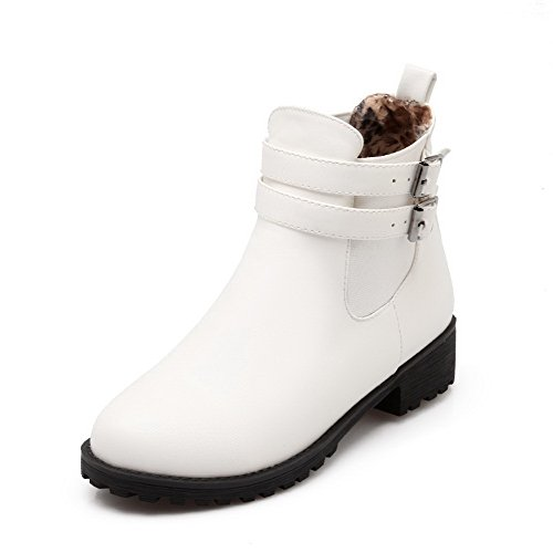 Low Women's Closed top Pull Low AgooLar Heels Toe White Round Boots on PU zdRnSw