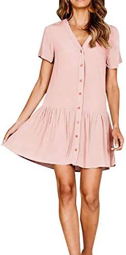 [해외]2020 Women V-Neck Solid Dress Shirt Sleeve Button Casual and Evening Mini Dress / 2020 Women V-Neck Solid Dress Shirt Sleeve Button Casual and Evening Mini Dress