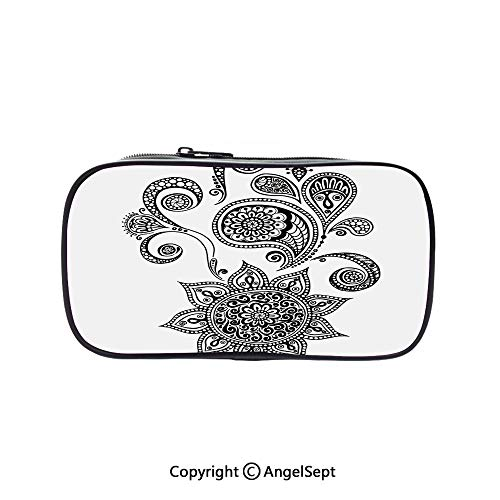 Big Capacity Pencil Case 1L Storage,Flowers and Paisley