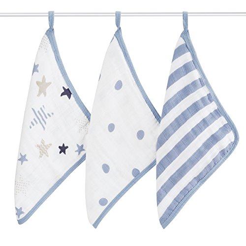 aden + anais washcloth set 3 pack, rock star