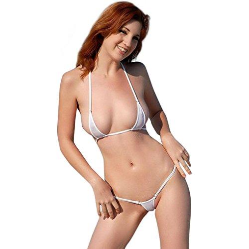 Mini Sleeveless Bra - XILALU Women's Hot Sexy Solid Lingerie Lacing Halter Backless Mini Bra Briefs G-String Bikini Set Bodysuit Underwear (One Size, White)