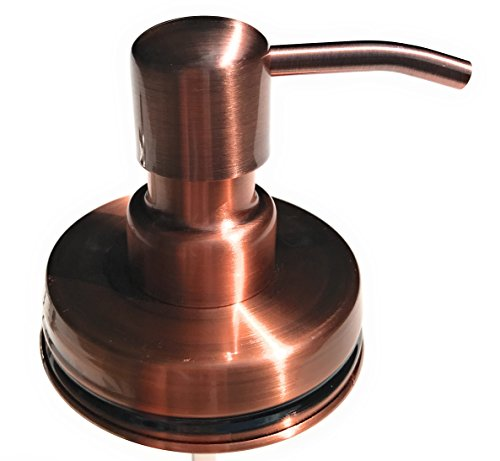 Foaming Regular Mouth Mason Jar Canning Pump and Lid Kit for Soap Dispenser with Spill Proof Gasket (1 Set in Copper)