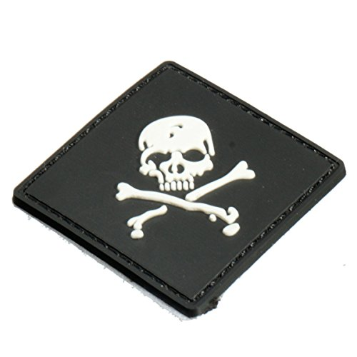 (Motorcycle Decals - 6x6cm Black Slull 3d Tactical Army Morale Pvc Rubber Patch - Skull Velcro Patch Tactical Pirate Backpack Patches Pack Military Badges Pirates Morale - Pvc - 1PCs)