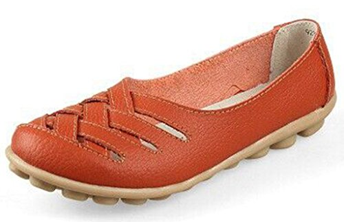 Labato Women's Leather Casual Cut Out Loafers Moccasin Driving Flats Slip-On Shoes Orange-1