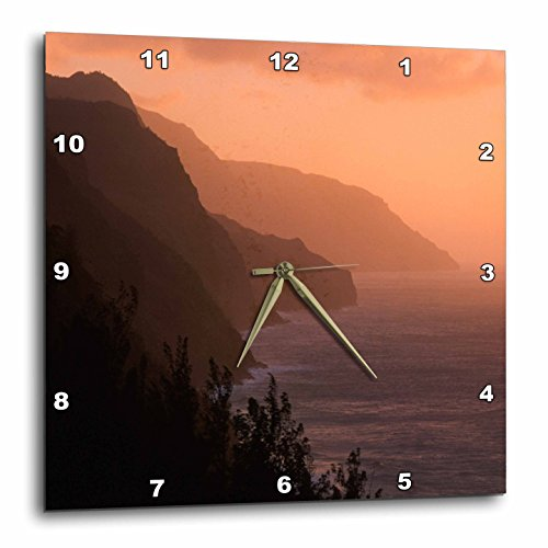 3dRose DPP_205296_1 USA Hawaii Kauai Na Pali Cliffs at Sunset from Kalalau Trail Wall Clock, 10'' x 10'' by 3dRose