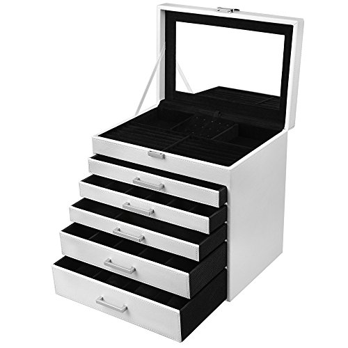 SONGMICS 6 Layers Jewelry Organizer, Extra Large Box Mirrored Storage Case, Sunglasses Watches Holder, White UJBC160