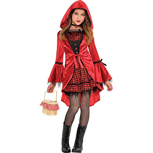 AMSCAN Gothic Red Riding Hood Halloween Costume for Girls, Medium, with Included Accessories -