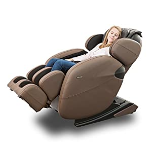 Kahuna Massage Chair Space-Saving Zero-Gravity Full-Body Recliner LM6800 with yoga & heating therapy (Brown)
