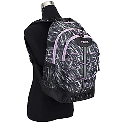Fuel Terra Sport Spacious School Backpack with Front Bungee, Black/Brush Stroke Print/Lilac Trim | Kids' Backpacks