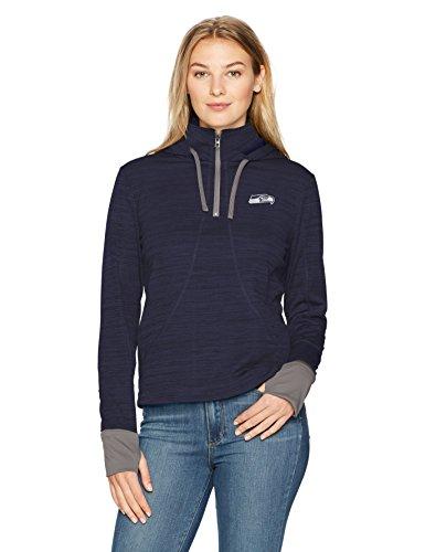 NFL Seattle Seahawks Women's OTS Annabelle 1/4-Zip Pullover Hoodie, Light Navy, Medium
