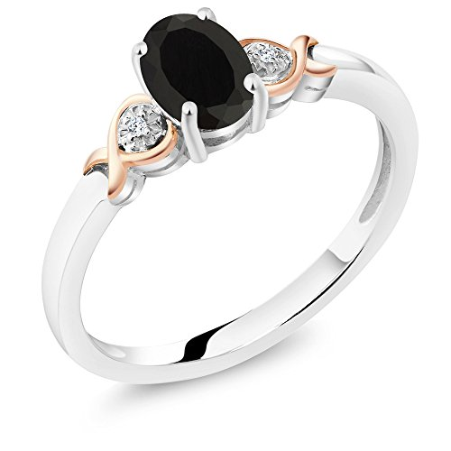 [925 Sterling Silver and 10K Rose Gold Ring Black Onyx with Diamond Accent (0.80 cttw, Available in size 5,6,7,8,9)] (10k Gold Onyx Diamond Ring)