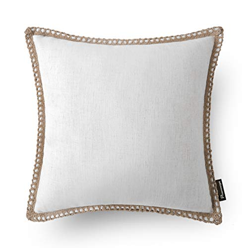 (Phantoscope Farmhouse Burlap Linen Trimmed Tailored Edges Throw Pillow Case Cushion Covers Off-White 18