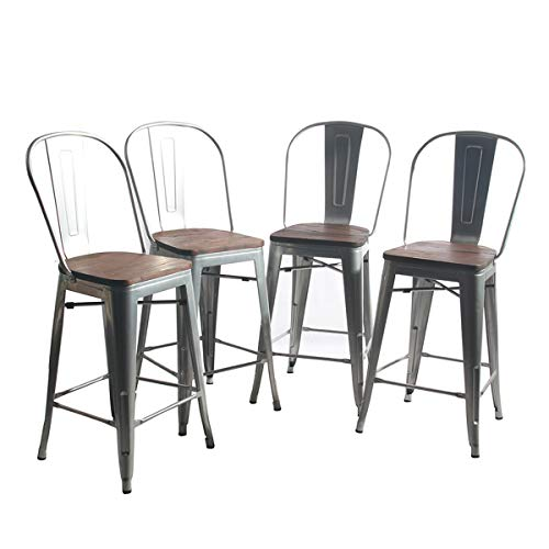 (YongQiang Metal Barstools Set of 4 Indoor/Outdoor Bar Stools High Back Dining Chair Counter Stool Cafe Side Chairs with Wooden Seat 24