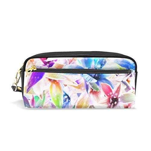 Jnseff Pencil Case Stylish Print Orchids Flowers Plant Beauty Color Art Pattern Large Capacity Pen Bag Makeup Pouch Durable Students Stationery Two Pockets with Double Zipper