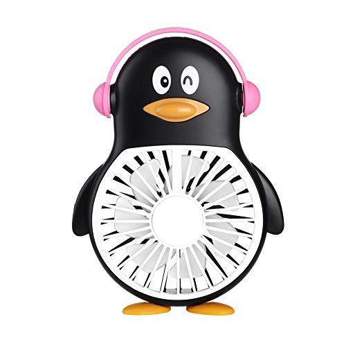 Portable Electric Fan Cartoon USB Charging Penguin Fan Mini Handheld Fan Student Outdoor Portable Pocket Fan Black