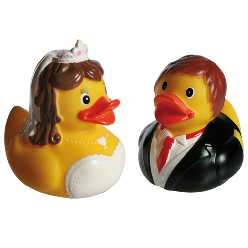BRIDE GROOM SQUEAKING RUBBER DUCKS WEDDING GIFT SET FUN BATHROOM BATH DUCK:  Amazon.co.uk: Toys U0026 Games