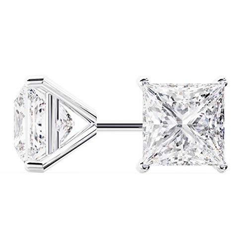 18k White Gold Princess Cut Diamond Stud Earrings | Martini Setting | 2 Carats ()