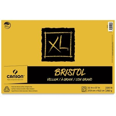 Canson XL Series Bristol Pad, Heavyweight Paper for Ink, Marker or Pencil, Smooth Finish, Fold Over, 100 Pound, 19 x 24 Inch, Bright White, 25 Sheets