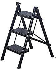 Folding 3 Step Ladder, Lightweight Step Stool, Household Ladder for Indoor & Outdoor with Anti-Slip Sturdy and Wide Pedal Ladder, Black