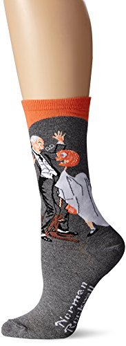 Hot Sox Women's Norman Rockwell Collection Crew Socks, Halloween (Coral), Shoe Size: 4-10 -