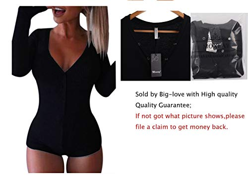 (Moxeay V-Neck One Piece Bodysuit Long Sleeve Bodycon Rompers Small)