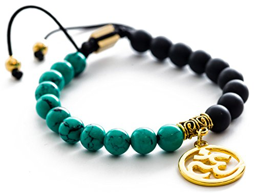 Gems of Peace - Matte Black Teal Adjustable Macrame Beaded OM Bracelet ()