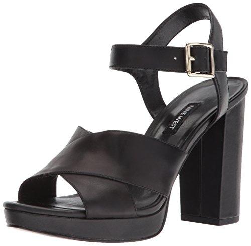 Nine West Women's JIMAR Heeled Sandal, Black Leather, 8.5 Medium US