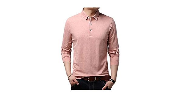 Camiseta de manga larga para hombre, color sólido, solapa ...