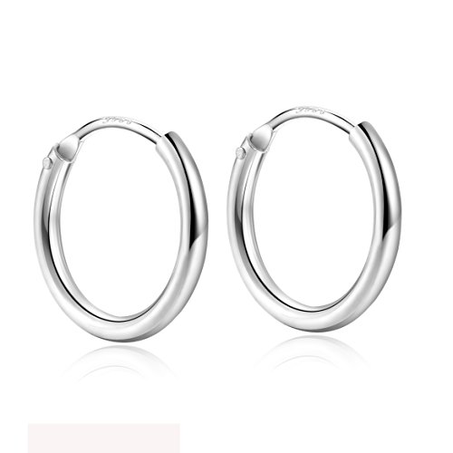 925 Sterling Silver Small Round Tube Endless Huggie Hoop Loop Earrings 15mm Women Men Girls by Silbertale