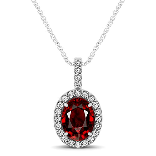 14k Oval Gemstone Pendant (1.90Ct Ttw Beautiful Oval Shape Gemstone Diamond Pendant In 14K White Gold With 18'' Rope Chain)