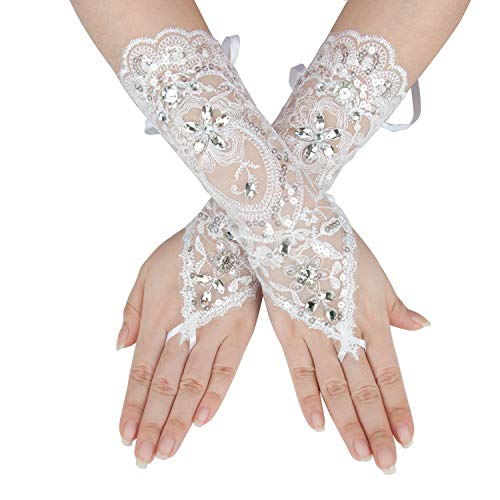- Gauss Kevin Hand Drill Lace Gloves UV Protection Fingerless Gloves Prom Party Driving Wedding