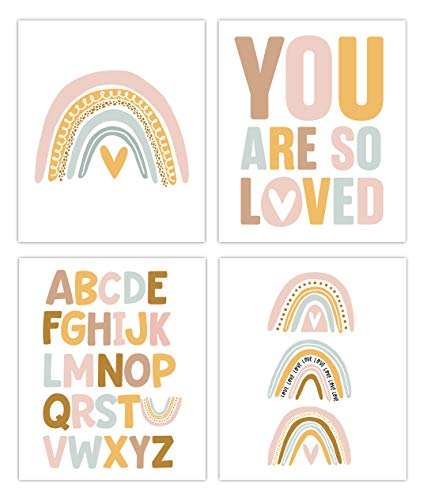 Designs by Maria Inc. Rainbow Prints Set of 4 (Unframed) Nursery Decor Art (8x10). Pretty Pastel Colors. Perfect for a Little Girls Nursery, Bedroom, Playroom.
