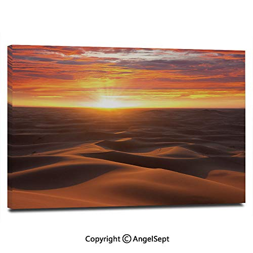 - Canvas Prints Modern Art Framed Wall Mural Dramatic Sunset Scenery at Sahara Dunes Arid Landscape Morrocco Summer Nature Wall Decorations for Living Room Bedroom Dining Room Bathroom Office,Gold YEL