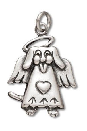 Polished Angel Charm - Sterling Silver Polished Dog Angel Charm Pendant (22 x 16 mm)