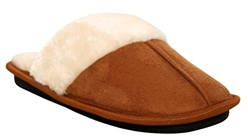 A&H Footwear Womens Ladies Slip On Ultra Soft Lightweight Memory Foam Faux Fur Lined Girls Cosy Mules Slippers UK Sizes 4-9 Tan
