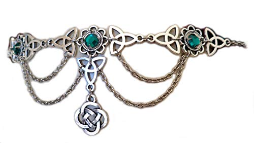 Moon Maiden Jewelry Celtic Triquetra Trinity Knot Draping Chain Headpiece Emerald Green ()