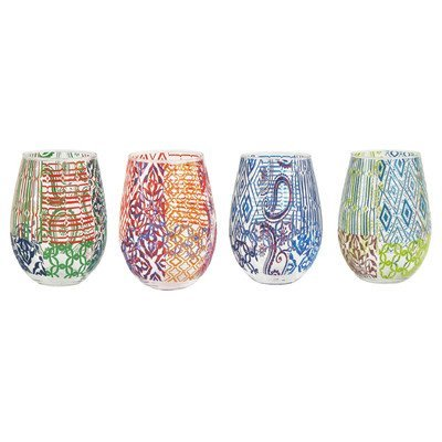 Tracy Porter Assorted Stemless Glass (Set of 4), Multicolor