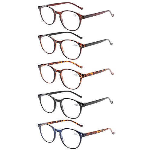 5 Pairs Reading Glasses - Standard Fit Spring Hinge Readers Glasses for Men and Women (5 Pack Mix Color, 2.00) by Norperwis