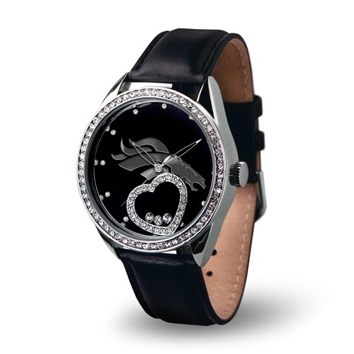 Denver Broncos Women's Floating Crystal Heart Watch - Beat (Denver Broncos Ladies Watch)