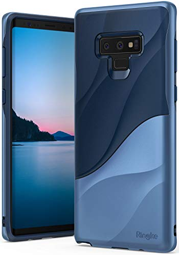 Ringke Wave Case for Galaxy Note 9 with Dual Layer Heavy Duty 3D Textured Shock Absorbent PC TPU Full Body Drop Resistant Protection Modern Design Cover for Note9 - Coastal Blue