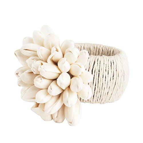 Jute Petite Tulip Design Napkin Rings, Set of 4 (Napkin Rings Tulip)
